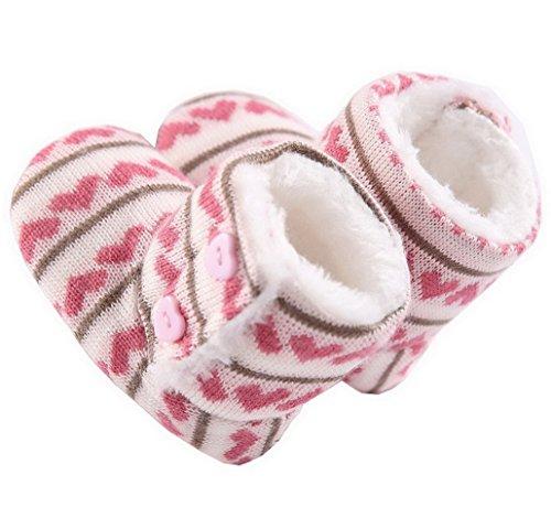 Flying Hedwig Baby Winter Schuhe Wollestiefel Knopf Aufladungen Weiche Sohle Kleinkind Warm Rosa