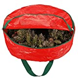 Zober Christmas Holiday Wreath Storage Bag - Tessuto resistente agli strappi ghirlande di Natale artificiale immagazzinaggio Sleek cerniera con carta trasparente slot Labeling