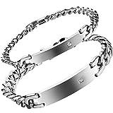 Flongo 2 Stückes Edelstahl Armband Armreif Panzerarmband Zirkonia Silber Polished Lieben Valentines Partner His & Hers Set Charm Herren Damen