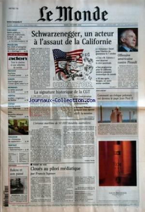 MONDE (LE) [No 18252] du 02/10/2003 - PARLEMENT - SANTE PUBLIQUE, CANICULE, EUTHANASIE, BUDGET, ETC - UNE RENTREE CHARGEE PROCES RPR - DES CHEFS D'ENTREPRISE DECRIVENT UN SYSTEME DE CHANTAGE EN ILE-DE-FRANCE - ADEN - TOUT LE CINEMA ET UNE SELECTION DE SORTIES MEXIQUE - PSYCHOSE A CIUDAD JUAREZ EUROPE - QUEL BUDGET POUR L'UNION APRES 2007 ? MONNAIES - LE DOLLAR POURSUIT SA CHUTE HOPITAL - LE PLAN URGENCES DE MATTEI JUSTICE - PREMIER PROCES POUR DEGAZAGE BULL - BRUXE