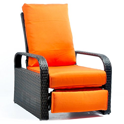 ATR tous les temps en osier Chaise Canapé – Réglable Patio inclinable avec coussins – UV/Fade/résistant à l'eau/la transpiration/rouille – Facile d'assemblage Brown Wicker + Orange Cushion