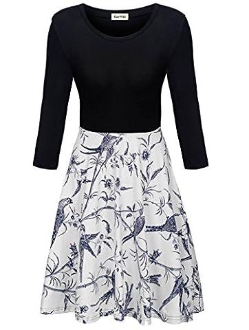 KorMei Damen Rundhals 3/4-Arm Fattern Stretch Strandkleid Cocktail Knielang Kleid Weiß M