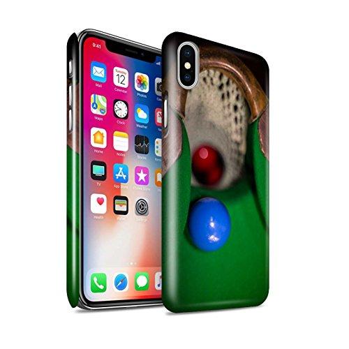 STUFF4 Glanz Snap-On Hülle / Case für Apple iPhone X/10 / Rote Kugel/Kreide Muster / Snooker Kollektion Blaue Kugel/Rack/Rosa