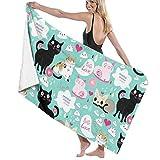 Set di Asciugamani da Bagno 100% Cotone, Stile Vintage, colorato, Divertente, per Amanti della gatta, assorbenti e ad Asciugatura Rapida, 80 x 130 cm, Leggero per Il Bagno (2 Asciugamani da Bagno)