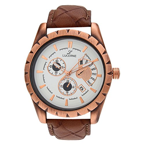 LUCERNE Analog Multi Round Designer Dial Brown Leather Strap Casual Gifts Watch For Men A Modern Men Watches Gifts...