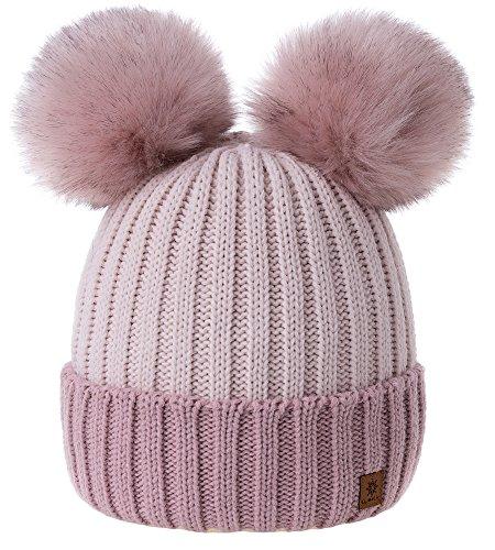 MFAZ Morefaz Ltd Damen Winter Beanie Strickmütze Mütze Doppelt Bommel Pom Pom Wurm Ski Mütze (Rose-Pink Powder-Pink)