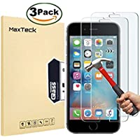 "[3 Pack] iPhone 6 6S Screen protector, MaxTeck 0.26mm 9H Tempered Shatterproof Glass Screen Protector Anti-Shatter Film for iPhone 6 6S 4.7"" inch [3D Touch Compatible]"