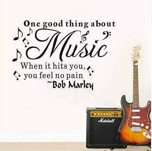 (WFYY Die Gute Sache über die Musik, wenn es Sie trifft, fühlen Sie Keine Schmerzen Englisch kreative Wandaufkleber Wandtattoo in der Nähe 76X33Cm)