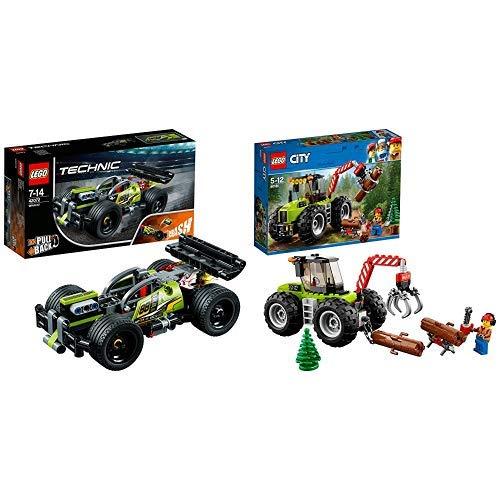 LEGO Technic 42072 - Zack Rückziehauto, Set für geübte Baumeister &  City 60181 - Starke Fahrzeuge Forsttraktor, Cooles Kinderspielzeug