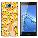 Hülle Nova Smart Case Huawei Nova Smart Whatsapp Emoticon Fuck Smiley/Cover Druck Auch an Den Seiten/Anti-Rutsch Anti-Rutsch Anti-Scratch Schock-resistenten Schutz Schutzulle Starre