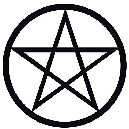 Wadeco Pentagramm Wandtattoo Wandsticker Wandaufkleber 35 Farben verschiedene Größen, 96cm x 96cm, schwarz