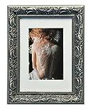 WOLTU #167 Bilderrahmen, Foto Collage, Holz Rahmen, Pappe Rückseite, Glas Vorderseite, zum Aufstellen und Aufhängen im Querformat und Hochformat, Barock design, Dunkelgrau (13x18 cm)