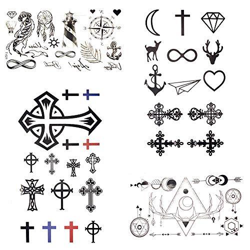 Tattoo-Aufkleber 80 Gadgets Schwarzes Kreuz Tätowierung Christian Frauen Körper Hände Kunst Tattoo Aufkleber Männer Diamant Fake Tattoo 10.5X6Cm ()