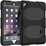 """iPad Case 9.7 Inch 2018/2017,Slim Heavy Duty Shockproof Rugged Case Hard PC+Silicone Hybrid High Impact Full Body Protective Case for Apple iPad 9.7"""" 2018/2017,Black"""