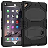 "iPad Case 9.7 Inch 2018/2017,Slim Heavy Duty Shockproof Rugged Case Hard PC+Silicone Hybrid High Impact Full Body Protective Case for Apple iPad 9.7"" 2018/2017,Black"