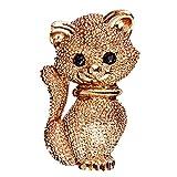 IPOTCH Golden Katze Brosche mit kristall Strass für Unisex Anzug Hüte Clips Damen Corsagen schmuck