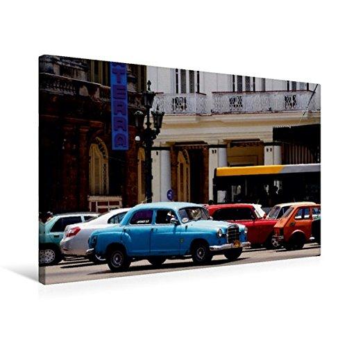 Premium Textil-Leinwand 75 cm x 50 cm quer, Der legendäre Mercedes 180 vor dem Hotel Inglaterra in Havanna   Wandbild, Bild auf Keilrahmen, Fertigbild ... Leinwand, Leinwanddruck (CALVENDO Orte)