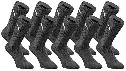 Baumwolle Schwarz Crew Sport Socken (PUMA Sport Crew Socken Sportsocken 10er Pack Unisex - Black - Gr. 43-46)