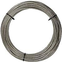 20 M de acero inoxidable - Cuerda de 7 x 7 D de alambre de=4 mm medio suave, PVC revestido, transparencia - acero inoxidable A4 cable de acero