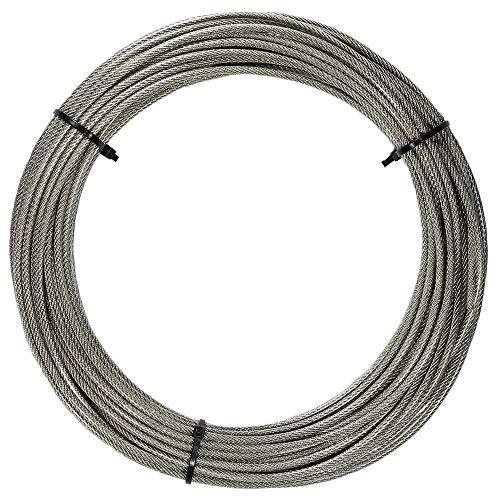 5 Meter Edelstahl - Drahtseil 7x7 D= 1,5 mm mittelweich, PVC ummantelt, transparent - Edelstahl A4 Stahlseil -