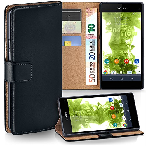 moex Sony Xperia Z1 Compact | Hülle Schwarz mit Karten-Fach 360° Book Klapp-Hülle Handytasche Kunst-Leder Handyhülle für Sony Xperia Z1 Compact / Z1 Mini Case Flip Cover Schutzhülle Tasche