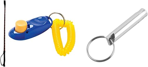 Foodie Puppies Dog Training Clicker, Hunter Stick and Whistle (Colour May Vary)