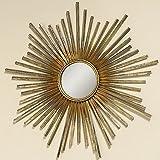 Home Collection - Arredamento, Decorazione - Specchio da Parete - Motivo: Sole - Stile: Etnico, Moderno - Materiale: Ferro - Colore: Oro - Ø 74 cm