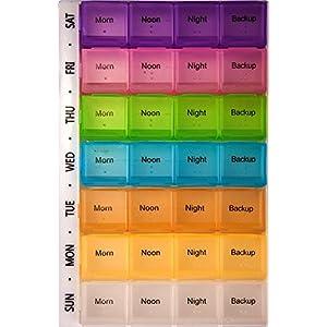 PuTwo Pillendose 7 Tage Pillenbox Tablettendose mit 28 Fächer Pillen Organizer Woche Tablettendose Medikamenten Aufbewahrung Wöchentliche Medikamentenbox