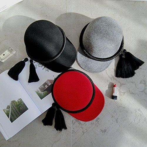 Personalità occidentali andare corda intrecciata di nostalgia per l'autunno e inverno, lana-su cappuccio equestre cavaliere caschi blu cappelli Cappelli, M (56-58cm) , ma grigio