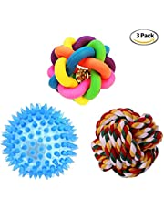 Petlicious & More Combo of 3 Puppy Ball Puppy Toys One Squeaky LED Ball One Sound Bell Rainbow Ball One Cotton Rope Ball for Puppy (Combo of 3)