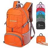 ZOMAKE 35L Ultraleicht Faltbarer Wanderrucksack, Multi-Funktionaler Stopfbarer Wasserdichter Casual Camping Tagesrucksack für Outdoor-Sport Klettern Bergsteiger (Orange)