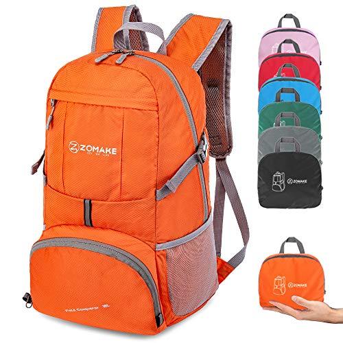 ZOMAKE Zaino Ripiegabile 35L, Zaino Leggero Pieghevole - Zainetto Impermeabile per Uomo Donna Hiking Viaggio Trekking Città Sportivo (Arancione)