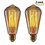 KINGSO 2 pack E27 Ampoule Edison à Incandescence Vintage ST64 60W 220V Lampe Tungstène Décorative Ampoule Filament Classique Antique Dimmable Blanc Chaud
