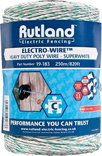 Rutland 19-183R Superweißer Elektrozaun-Draht, 250m (Französisch Draht)