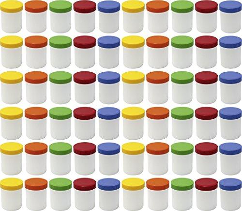 60 Salbendöschen, Creme-döschen, Salbenkruke hoch, 25ml Inhalt mit farbigen Deckeln - MADE IN GERMANY