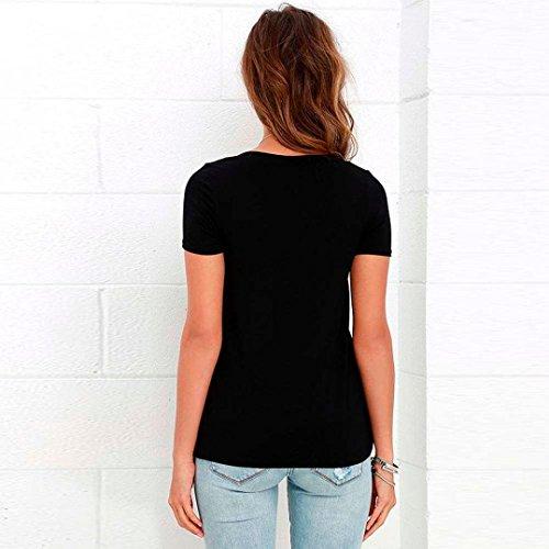 Minetom Femme Sexy Encolure V T-Shirt Manches Courtes Tops Bandage Lacets Blouses Chemisier Noir