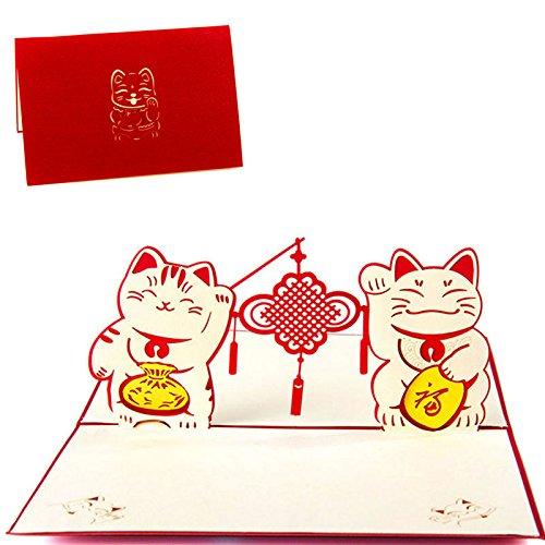 Kofun biglietto d' auguri con busta, compleanno, san valentino 'day new year xmas gift 3d pop up double happiness cat invito biglietto di auguri