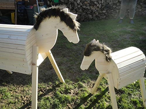 FidgetGear 2 Stück Holzpferd Voltigierpferd Holzpony Pferd Pony 114 cm 64 cm braun Fell as picture show One