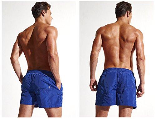 Honeystore Herren Slim Fit Freizeit Sommer Shorts Casual Mode Urlaub Strand-Shorts Blau