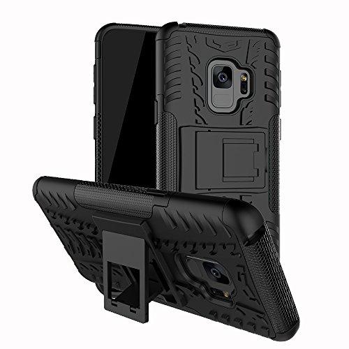 Roreikes Samsung Galaxy S9 Hülle Stoßfest, Roreikes Hyun Muster Weich TPU+PC Dual Layer Hybrid Rugged Armor 2 in 1 Schutzhülle Eingebauter Ständer Handyhülle Silikon Case für Galaxy S9(Schwarz)