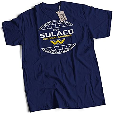 bybulldog® USS Sulaco Colonial Marines Premium Heavyweight T Shirt Navy Blue 2X Large