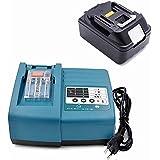 Cargador con baterías para Makita BL1830, DC18RA, DC18RC (cargador de 7,2 - 18 V y baterías de ion de litio Makita BL1830, 18 V, 3 A)