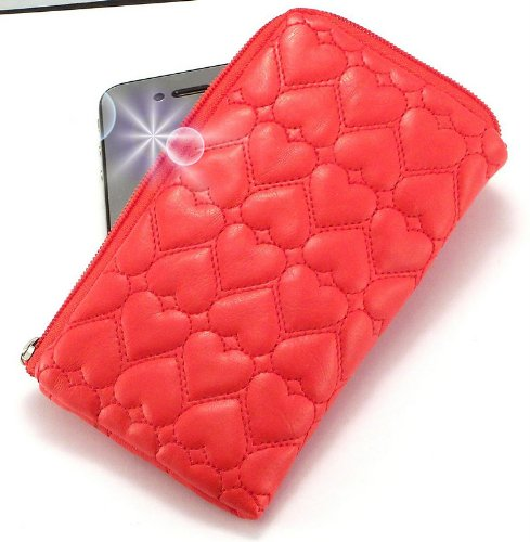 """Price comparison product image """"Miss"""" Luxurious Padded Wallet / Holder with Carrying Strap with """"Dreamer"""" no. 10009 Gliter Phone Charm for BenQ M7 . Unique Zipped Pouch / Case / Skin / Holster for Mobile Phone and Credit Cards - Red ."""