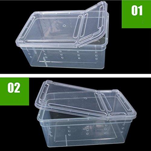 Generic Transparent Wasserreptil Zuchtbox Insektenbox für Reptilien - 19x12.5x7.5cm