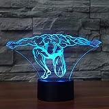 Busjk Luce Notturna 7 Colori Che Cambiano 3D Led Fitness Modelling Night Lights Lampada Da Tavolo Comodino Muscle Man Sleep Lighting Camera Da Letto Regali