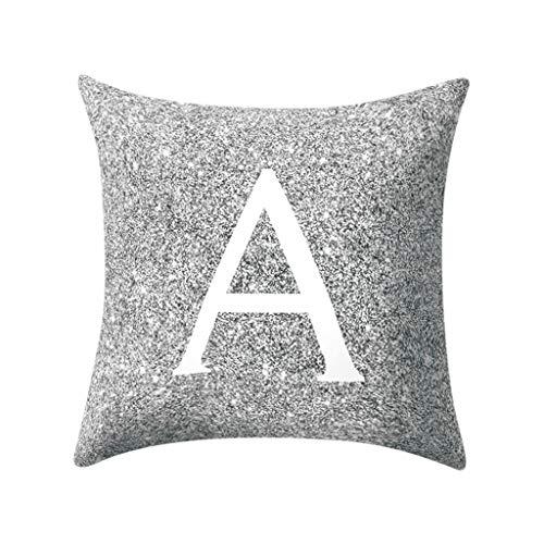 Xinantime Kissenbezüge mit Buchstaben A-Z Kissenhülle Silberfarben Metallisch Kissenhüllen Buchstabe Wurf Kissenbezug zum Couch Sofa Schlafzimmer Zuhause 45x45 cm