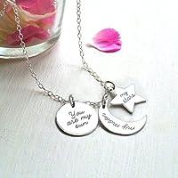 Personalisierte Sterling Silber Sonne, Mond, Sterne Halskette