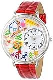 Whimsical Watches WHIMS-U0640003 - Reloj analógico de Cuarzo Unisex con Correa de Piel, Color Rojo