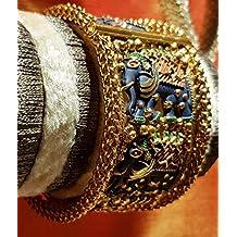 Swara's Designer Brass Kada in Range Studded Stones/Gold Plated Bangle for Women & Girls (Quantity-1)(087)