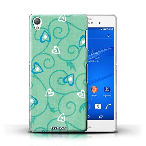 Kobalt® Imprimé Etui / Coque pour Sony Xperia Z3 / Turquoise/Bleu conception / Série Coeur Vigne Motif Turquoise/Bleu
